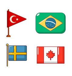 country flag icon set cartoon style vector image