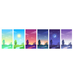 Countryside landscape in parts day time sky vector