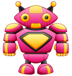 Cute big cartoon robot character isolated on white vector