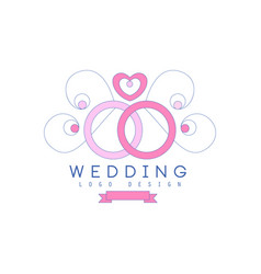 Cute line logo design with wedding rings and vector