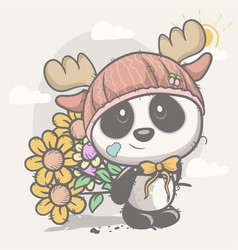cute panda with flowers vector image
