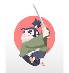 cute style japanese chubby samurai vector image