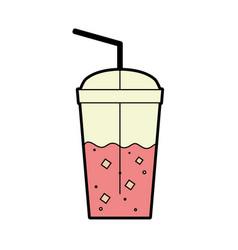 Delicious coffe espresso plastic cup vector