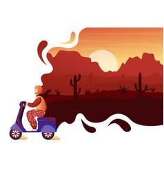 Desert wild nature adventure travel concept vector