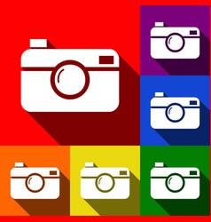 digital photo camera sign set of icons vector image