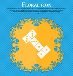 Domino icon Floral flat design on a blue abstract vector