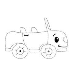 Dotted shape kawaii happy sport car transport vector