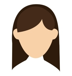 Faceless woman with long hair portrait icon vector