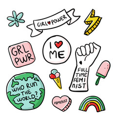 Feminism slogan and patches girl power vector