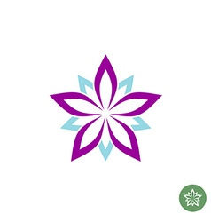 Five leaves lotus flower logo template vector