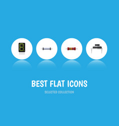 Flat icon device set of display resistance vector
