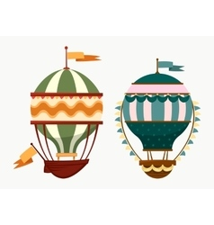 flying striped air balloons with flags vector image