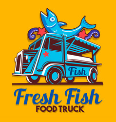 Food truck fish shop delivery service logo vector