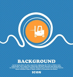 Forklift icon sign Blue and white abstract vector