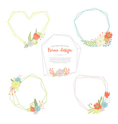 geometric and poligonal frames and bouquets vector image