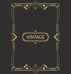 Geometric frame in art deco style vector