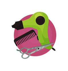 Hairdresser icon hair dryer comb scissors vector