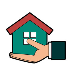 hand holding house or home icon image vector image