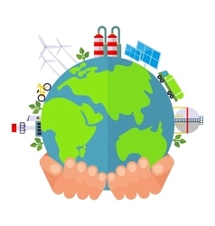 Hand holds green planet vector