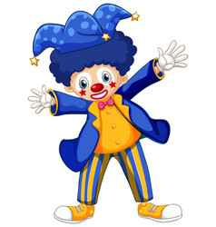 Happy clown in blue jacket and blue hat on white vector