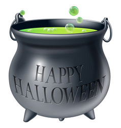 happy halloween witch cauldron vector image