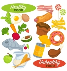 Healthy and unhealthy food set vector