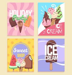 ice cream banners summer desserts caramel sundae vector image