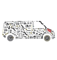 Images bus from new spare parts vector
