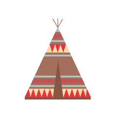 indian wigwam with ornamental elements ethnic vector image