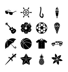 Island solid icons set vector