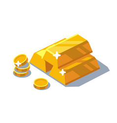 Isometric golden bars and coins vector