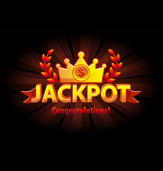 jackpot gold casino lotto label with crown casino vector image