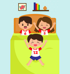 jumping kid on the bed vector image