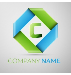 Letter C logo symbol in the colorful rhombus vector
