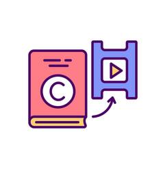 Literary adaptation into movie rgb color icon vector