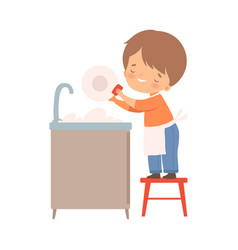 Little boy washing dishes on his own vector