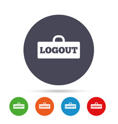 logout sign icon log out symbol lock vector image