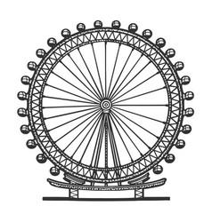 London eye ferris wheel sketch vector
