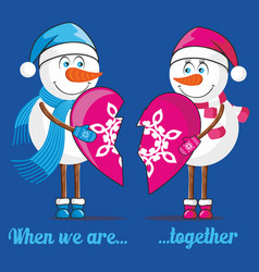 Lovers snowmen vector