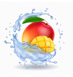 mango in water splash fresh fruit realistic icon vector image