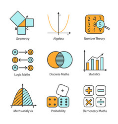 Mathematics color icons set vector