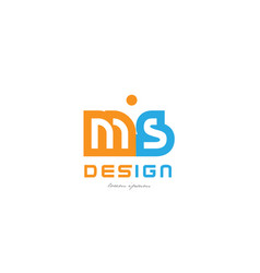 ms m s orange blue alphabet letter logo vector image