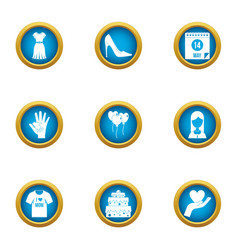 Nuptial icons set flat style vector