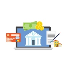 Online banking theme flat style vector image