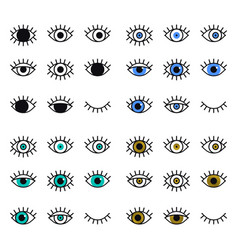 Open and closed eyes line icons set on white vector