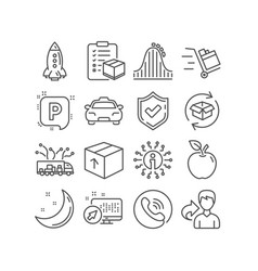 Parcel checklist parking and rocket icons vector