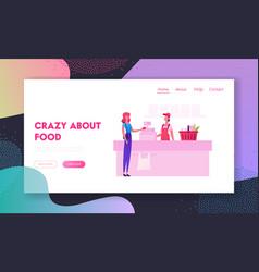 people in supermarket website landing page vector image