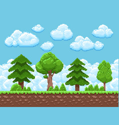 Pixel game landscape with trees sky and vector