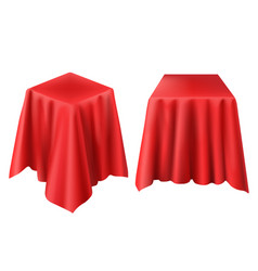 Realistic box covered with red cloth vector
