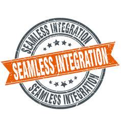Seamless integration round grunge ribbon stamp vector